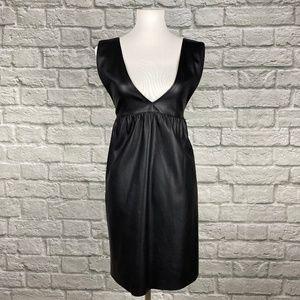 Zara Deep V Faux Leather Dress